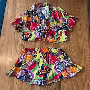 Zara two piece crop top swing shorts paisley large